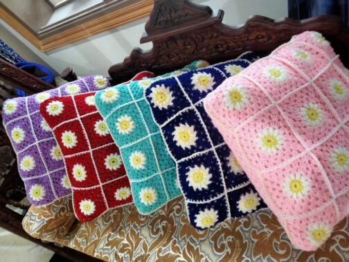 Handmade crochet square flowers designs cushion cover